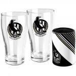 Collingwood MAGPIES AFL Set of 2 pint Glasses & Can Cooler