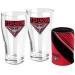 Essendon BOMBERS AFL Set of 2 pint Glasses & Can Cooler Gift Pack