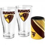 Hawthorn HAWKS AFL Set of 2 pint Glasses & Can Cooler Gift Pack