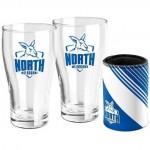 North Melbourne KANGAROOS AFL Set of 2 pint Glasses & Can Cooler Gift Pack