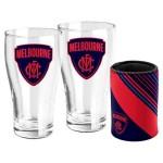 Melbourne DEMONS AFL Set of 2 pint Glasses & Can Cooler Gift Pack
