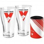 Sydney SWANS AFL Set of 2 pint Glasses & Can Cooler Gift Pack