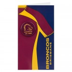 Brisbane Broncos NRL Birthday,Greeting Card with Badge
