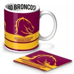 Brisbane Broncos NRL mug and coaster set
