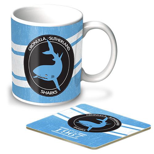 341d5bcf Cronulla Sharks NRL Mug and Coaster Heritage Gift Pack