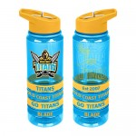 Gold Coast Titans NRL Large Team Logo Tritan Plastic Drink Bottle with Bands