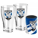 Canterburry BULLDOGS NRL Set of 2 pint Glasses & Can Cooler
