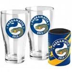 Parramatta EELS NRL Set of 2 pint Glasses & Can Cooler