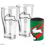 South Sydney RABBITOHS NRL Set of 2 pint Glasses & Can Cooler