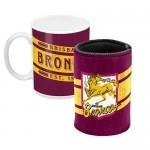 Brisbane Broncos NRL Mug and Can Cooler Heritage Gift Pack