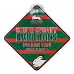 SOUTH SYDNEY RABBITOHS NRL TEAM FANS ON BOARD PLASTIC CAR WINDOW SIGN.