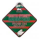 SOUTH SYDNEY RABBITOHS NRL TEAM FANS ON BOARD PLASTIC CAR WINDOW SIGN.